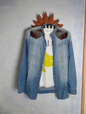 verwaschen Blau Liebeskind Berlin Jeanshemd - Pailetten Hemd - Größe 38/M - Denim Bluse