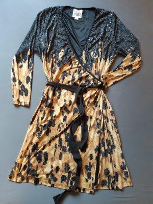 Vestido cruzado negro-marrón claro