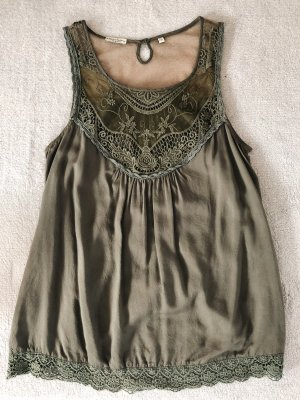America Today Blouse Top green grey-olive green viscose