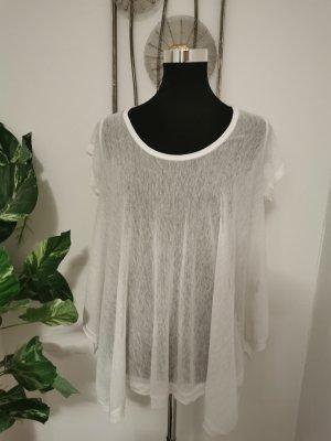 Vestino Damen Sommer Shirt Netzshirt Tunikashirt Strandshirt weiß Größe 42