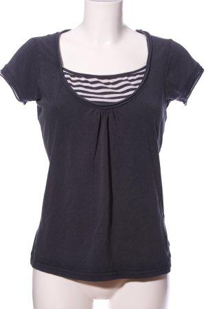 Vestino T-Shirt schwarz Streifenmuster Casual-Look