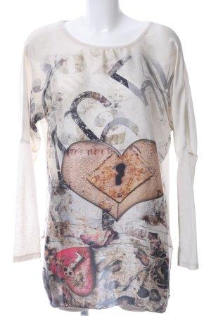 Vestino Langarm-Bluse weiß Motivdruck Casual-Look