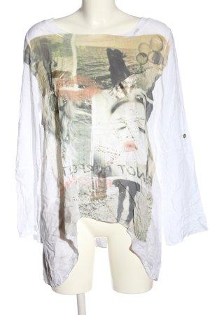 Vestino Camicia fantasia bianco-grigio chiaro Stampa a tema stile casual