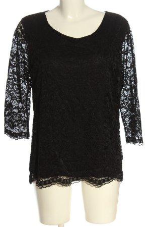 Vestino Blusa in merletto nero stile casual