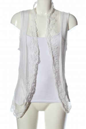 Vestino Smanicato lavorato a maglia bianco stile casual