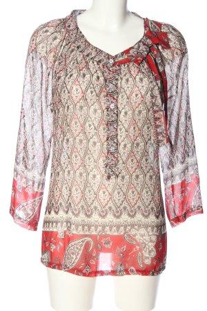 Vestino Transparenz-Bluse wollweiß-rot Allover-Druck klassischer Stil