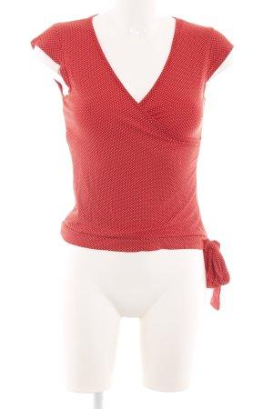 Vestino V-Ausschnitt-Shirt rot-weiß Punktemuster Casual-Look