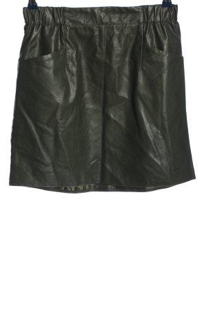 Vetiver Faux Leather Skirt khaki elegant