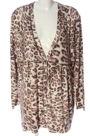 Via appia due Cardigan bianco sporco-marrone Stampa leopardata stile casual