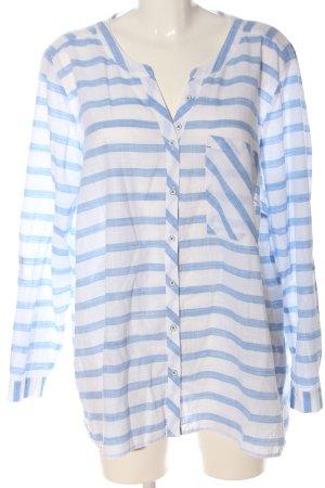 Via appia due Camicia blusa blu-bianco motivo a righe stile casual