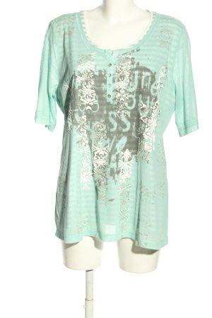 Via appia due Camicia maglia turchese-grigio chiaro Stampa a tema stile casual