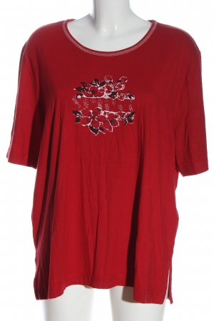 Via appia due T-shirt rosso motivo floreale stile casual