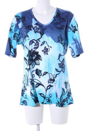 Via appia due T-shirt col en V bleu-turquoise motif de fleur style décontracté