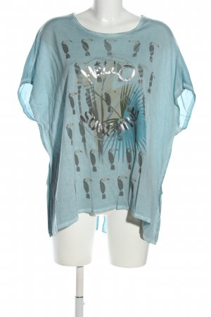 Via Appia Kurzarm-Bluse blau-silberfarben Motivdruck Casual-Look
