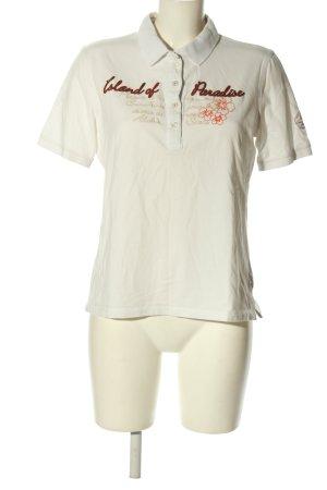 Via Appia Polo-Shirt weiß Schriftzug gestickt Casual-Look