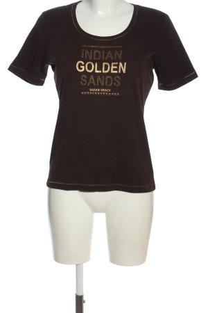 Via Appia Print-Shirt braun-bronzefarben Schriftzug gedruckt Casual-Look