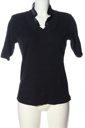 Via Appia Geribd shirt zwart casual uitstraling