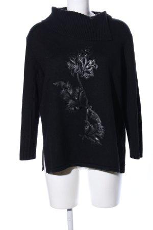 Via Appia Maglione dolcevita nero motivo floreale stile casual
