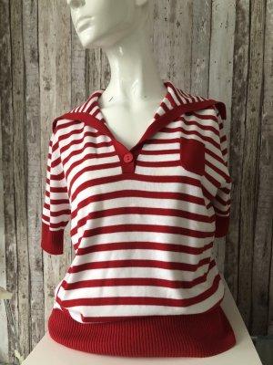 Via Appia Koszulka w paski biały-czerwony Bawełna