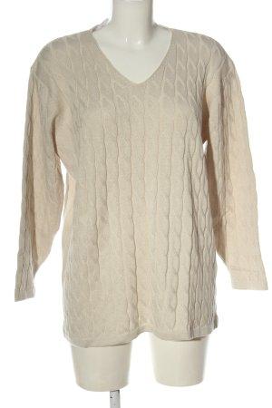 Via Appia V-Ausschnitt-Pullover wollweiß Zopfmuster Casual-Look
