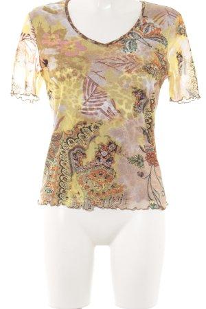 Via Appia V-Ausschnitt-Shirt abstraktes Muster Casual-Look