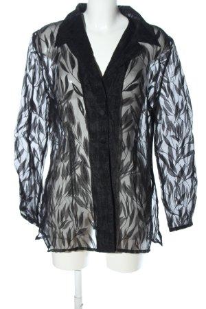 Via Di Ronnetta Transparenz-Bluse schwarz Allover-Druck extravaganter Stil