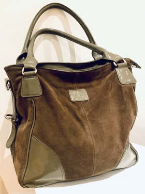 Via Milano Wildleder/ Lackleder Handtasche braun grün Hobo/ Umhängetasche