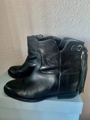 Via Roma 15 Wedge Booties black leather