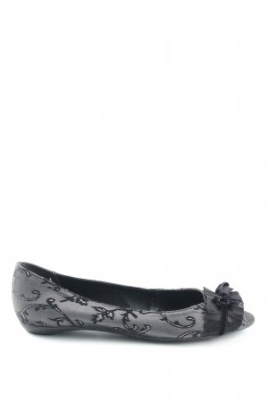 Via uno Peep Toe Ballerinas black-silver-colored extravagant style