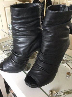 Via UNO Stiefelette Peeptoes Raffungen echtes weiches Leder schwarz Gr. 37