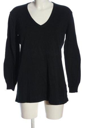 Viacortesa V-Ausschnitt-Pullover schwarz Casual-Look