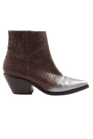 Vic Matie Reißverschluss-Stiefeletten braun-silberfarben extravaganter Stil
