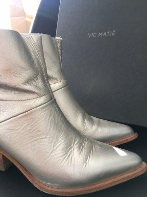 Vic Matie Stivaletto western argento Pelle