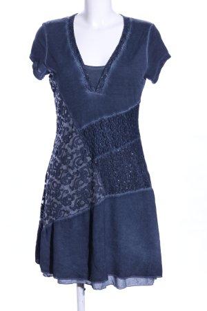 Viccio Barcelona Kurzarmkleid blau abstraktes Muster Casual-Look