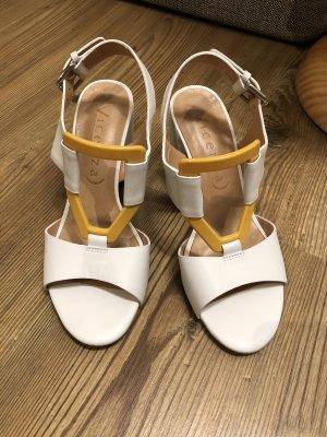 Vicenza Sandalias de tacón de tiras blanco-naranja dorado