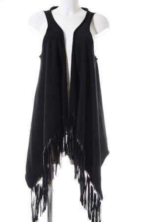 Vicolo Chaleco con flecos negro look casual