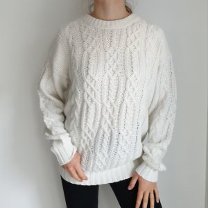 Victor lazlo M Oversize Pullover weiß Hoodie Pulli Sweater Top Oberteil True Vintage Muster