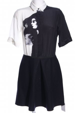 Victoria Beckham Blusenkleid schwarz-weiß Motivdruck Casual-Look
