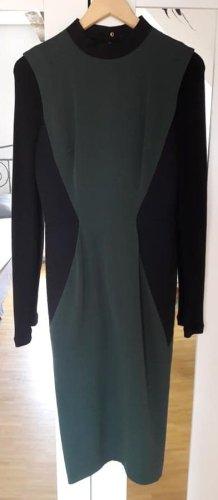 Victoria Beckham Robe mi-longue vert foncé-noir soie