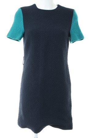 Victoria Beckham Kurzarmkleid blau-türkis Zopfmuster Casual-Look