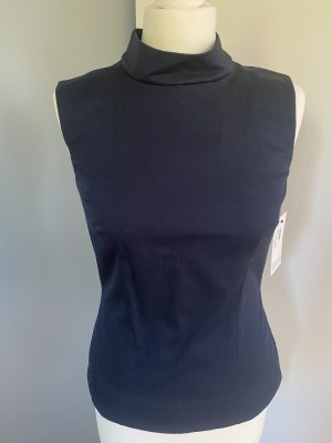 Victoria Beckham Top con colletto arrotolato blu scuro