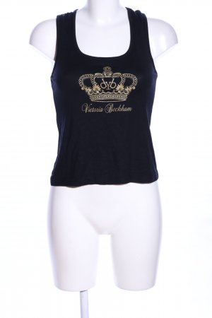 Victoria Beckham Trägertop blau-goldfarben Motivdruck Casual-Look