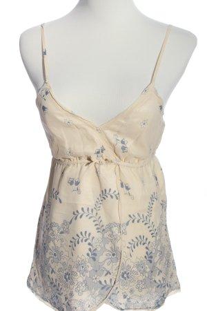 Victoria Couture Empire Waist Top creme-blau Blumenmuster Casual-Look