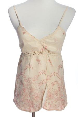 Victoria Couture Empire Waist Top cream-pink allover print elegant