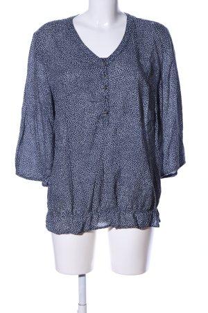 Victoria Langarm-Bluse blau-weiß Allover-Druck Business-Look