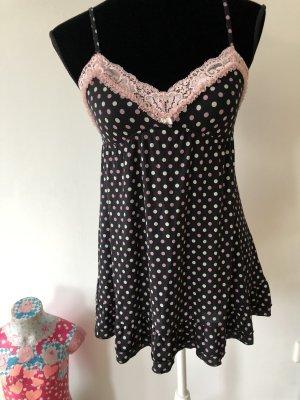 Victoria's Secret Babydoll Rüschen Negligé Polka Punkte S Nachthemd schwarz pink