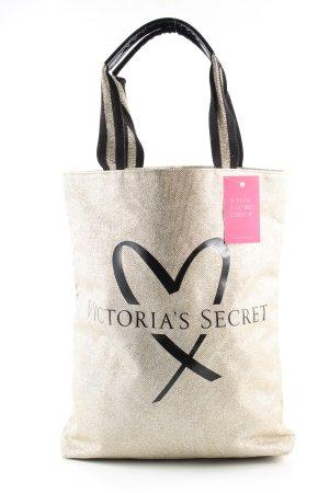 Victoria's Secret Henkeltasche schwarz-creme Motivdruck Casual-Look
