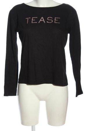 Victoria's Secret Blouse à manches longues noir-brun lettrage imprimé