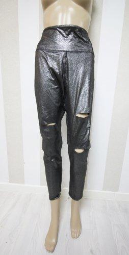 Victoria´s Secret Leggings Hose Cut Outs Ripped metallic look gr L