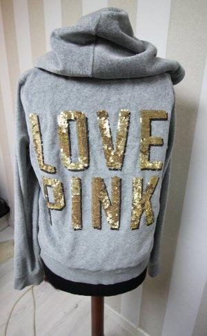 Victoria's Secret Chaqueta de tela de sudadera color oro-gris